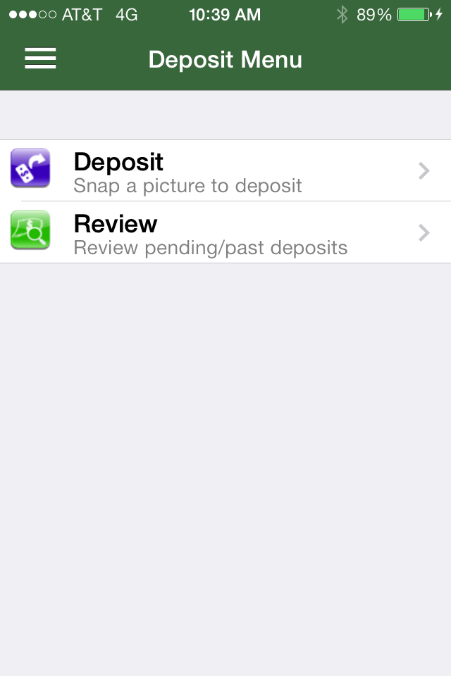 Image of Deposit menu on app